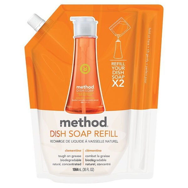 Method Washing Up Liquid Clementine 1064ml - Refill 532ml up to 2 times