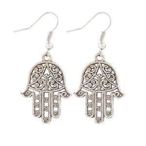 Tibetan Silver Hamsa Hand Drop Hook Earrings Hand of Fatima