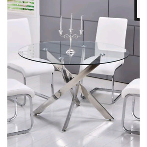 Glass Dining Table w 4 modern white chairs