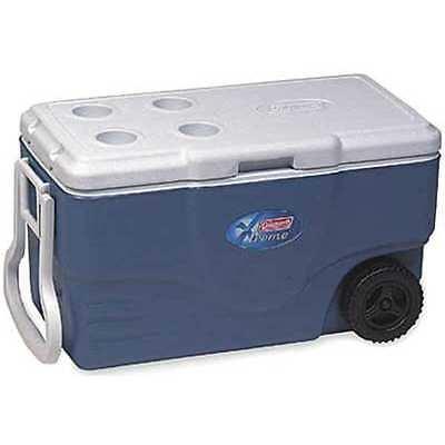COLEMAN 6262A748 Wheeled Chest Cooler, 62 qt., Blue