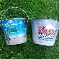 Chaudieres en Metal Corona et Coors Light Steel Beer Buckets