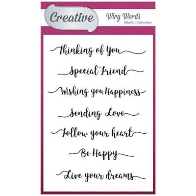 Creative A6 Stamp Set Mindful Sentiments Set of 7 | Wiry Words Collection