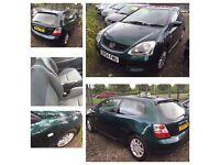 54 plate Honda Civic 1.6 vtec 3 door green needs mot