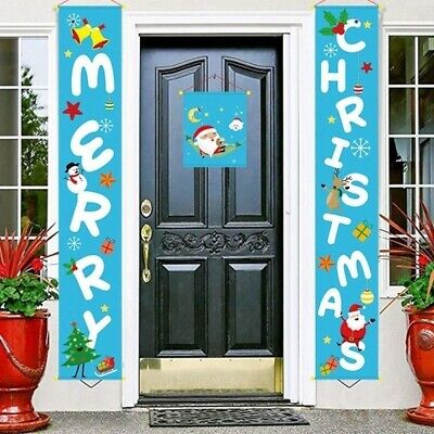 3pcs Christmas Couplet Fabric Door Hanging Ornaments New Year Party Decor Large 3 Door Hanging
