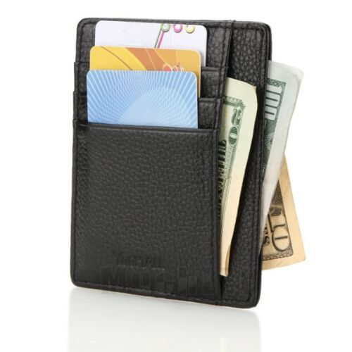 Genuine Leather Money Clip ID Credit Card Case Holder Wallet Front Pocket Purse