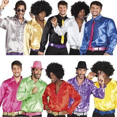 Show Hemd Herren Party Rüschenhemd Satin Karneval Hippie Schlagermove 70er 80er