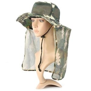 Sun protection hunting fishing hiking camouflage cap hat for Fishing neck cover