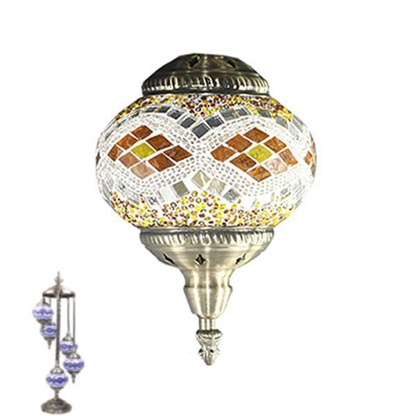 Turkish Moroccan Mosaic Shimmer Handmade Floor Lamp 5 Medium Globes Multicolored