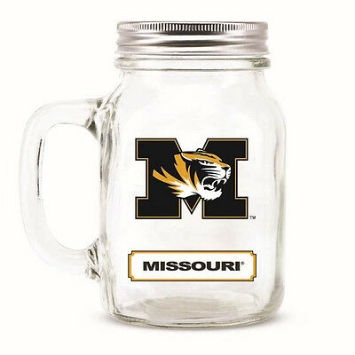 Missouri Tigers Mason Jar - 20oz Glass With Lid [NEW] NCAA Mug Pint Mizzou CDG