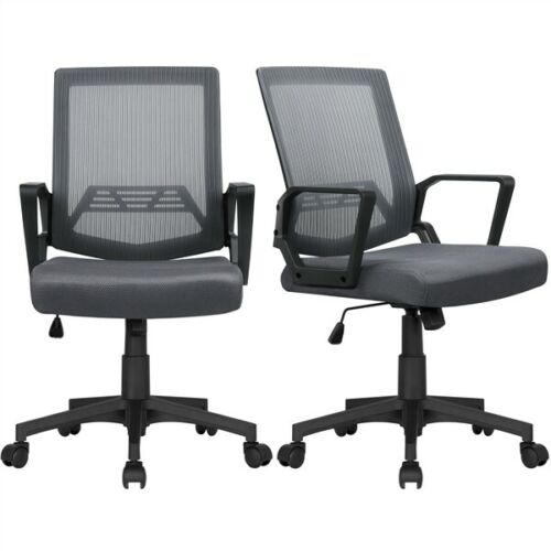 2PCS Mesh Chairs Office Desk Chair with Casters, Ergonomic C