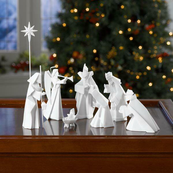 White Porcelain Origami Nativity Set - 9 Piece Set Christmas Holiday Decor