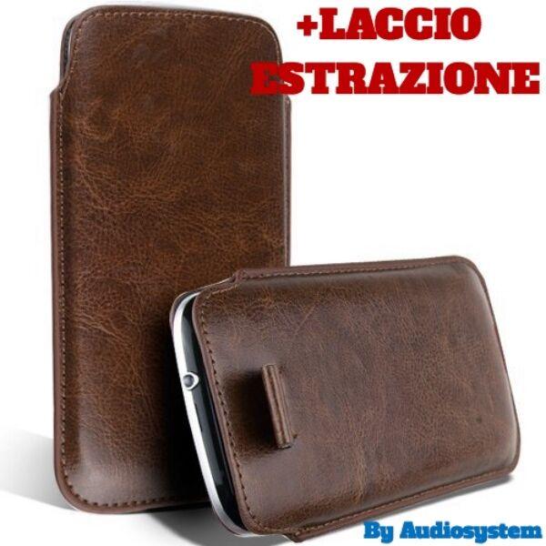 CUSTODIA COVER SACCHETTO pr ASUS ZENFONE 3 MAX ZC520TL PELLE BROWN BROWN CALZINO