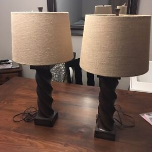 Two large table lamps w / burlap shades London Ontario image 1