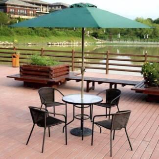 Garden Courtyard Rattan Chair Glass Table with Umbrella Outdoor