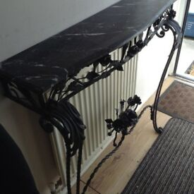 French antique marble & wrought iron hall stand £165