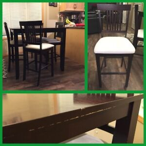 Pub Style Dark Wood Table and Chairs.