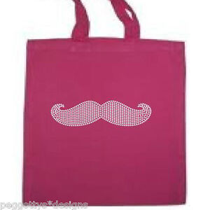 Cotton-tote-bag-with-rhinestone-mustache-pink-shopper-long-handle-xmas-movember