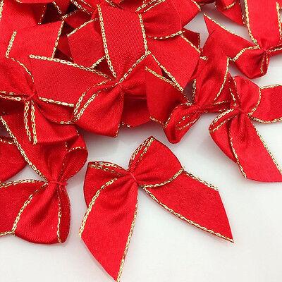 60pc Gold Edge Mini Satin Ribbon Flowers Bows Gift Craft Wedding Decoration (Gold Satin Flowers)