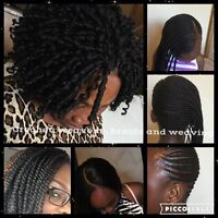 African hair styling- braids, weavon, crotchet, Afro twists etc