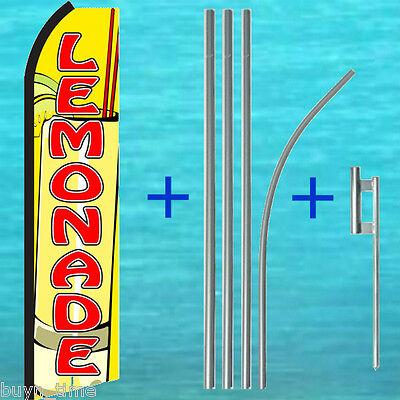 Lemonade Yel Flutter Feather Flag 15 Tall Pole Mount Kit Swooper Bow Banner