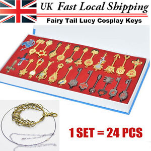 1SET/ 24pcs Fairy Tail Lucy Cosplay Keys Pendant Necklace Keychain w/ Box New UK