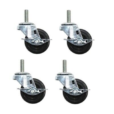 Four-swivel Stem Casters 3 X 1-14 Wheels 12 Threaded Stems W Brakes