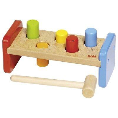 Hammerbank Klopfbank goki basic 7 Teile aus Holz bunt Holzspielzeug Kinder 58581