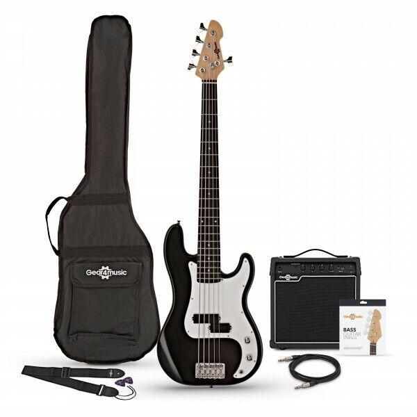 LA 5 String Bass Guitar Black + 15W Amp Pack by Gear4music