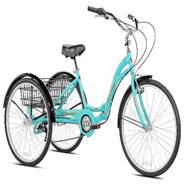 "NEW 26"" Kent Monterey Adult Folding Trike AQUA Tricycle 7 Sp"