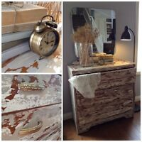 Gorgeous boat wood style dresser with mirror