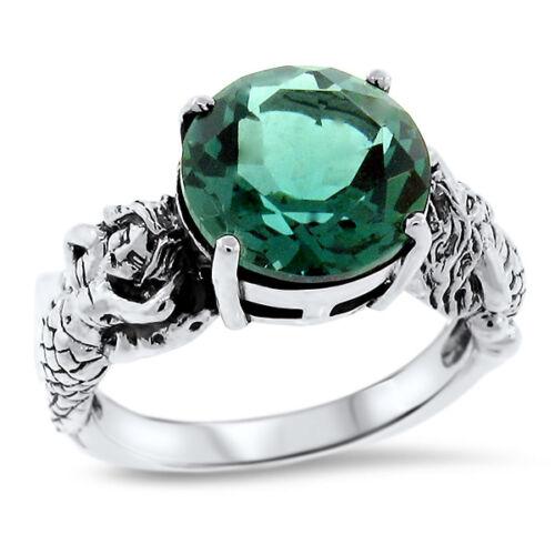 MERMAID 925 SOLID STERLING SILVER EMERALD GREEN QUARTZ RING,                #920