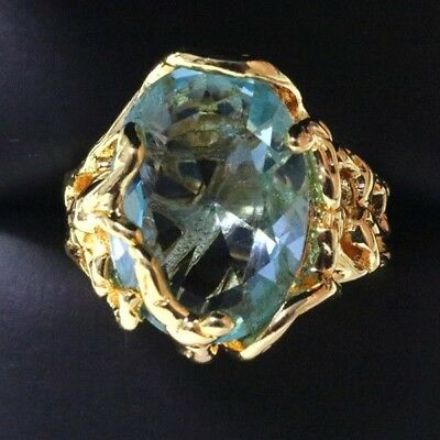 Aquamarine Jewelry - Sparkling Oval Blue Aquamarine Ring Women Jewelry 14K Gold Plated Nickel Free
