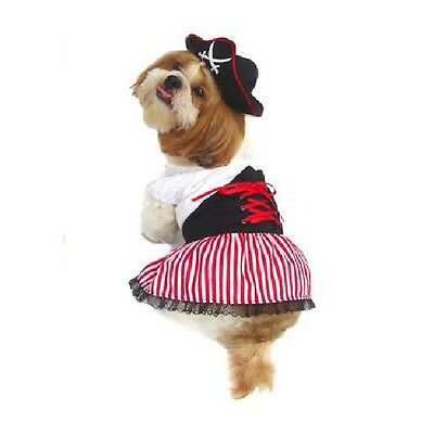 LADY PIRATE DOG COSTUMES - Dress Your Pup Nautical Halloween Sailor Dress & Hat