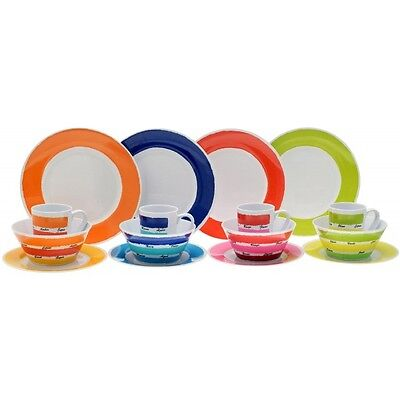 16 Piece Caravan Camping Melamine Dinner Set Flamefield Colour Works CWK0116