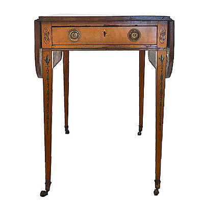 English George III Painted Satinwood Pembroke Table