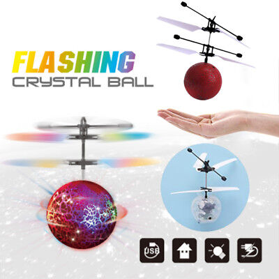 Magic Flash Electric LED Light Flying Ball Helicopter RC Sensor Drone Kids Toys