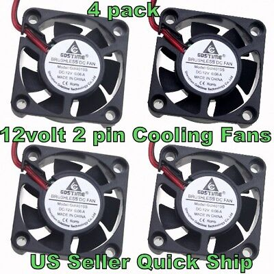 4 Pcs 12V 40mm Cooling Computer Case Fan #4010S 40x40x10mm 2-Pin US Seller Ship