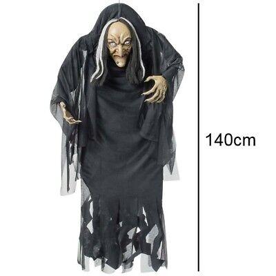 HEXE MIT BUCKEL 140 cm Deko Figur hängend Halloween Schocker Horror Puppe #7834