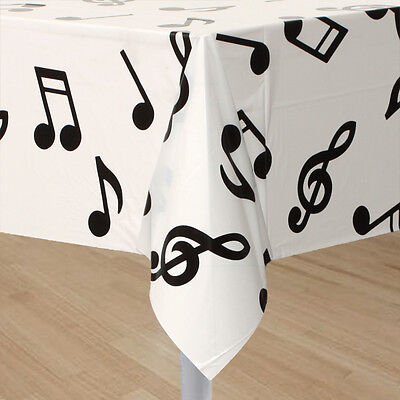 MUSICAL NOTES TABLECLOTH TABLE COVER PARTY DECORATION MUSIC THEME ROCK N ROLL - Music Themed Tablecloths