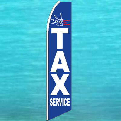 Liberty Income Tax Blue Flutter Flag Tall Advertising Feather Swooper Bow Banner