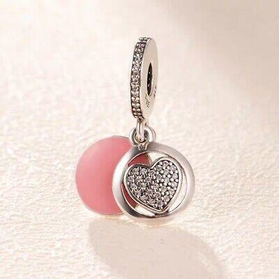AUTHENTIC PANDORA Devoted Heart Dangle Charm,Enamel & Clear 792149EN24 (Enamel Heart Dangle)