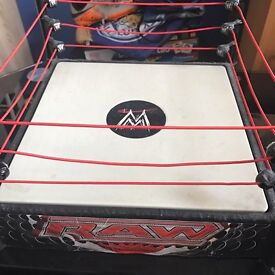 WWE wrestling ring with belts and figures