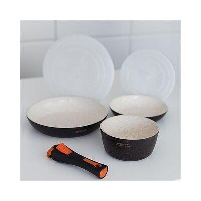 Granite Stone Set 2 sartenes, 1 cazo con mango extraíble y 2...