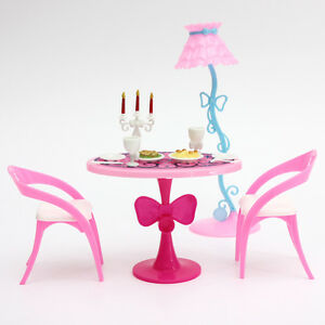 Stylish Retro Toys Doll House Miniature Furniture Dining Table Sets For Barbie
