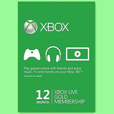 XBOX ONE 360 LIVE GOLD CARD Karte Code 12 MONATE MONTH NEU PER EMAIL  online kaufen