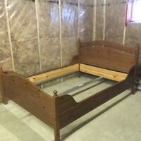 Gently used IKEA Queen bed frame - mid beam included real wood