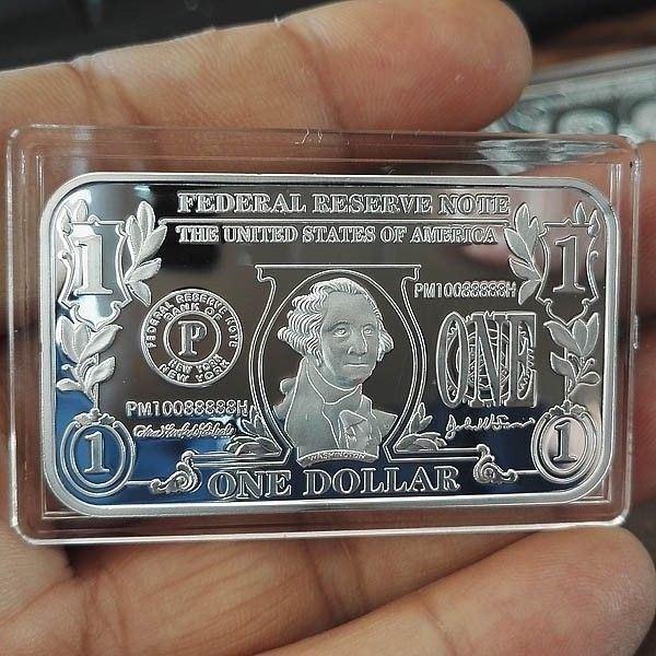 1 Troy oz  .999 Fine Silver BAR Bullion /  $1 One Dollar design  SB1J1