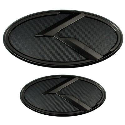 2 Black Carbon Fiber Kia K Emblems Badges For Trunk Or Hood Pair