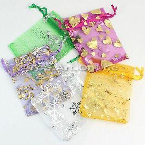 Lot de 100 sac cadeau sachet pochette organza tissu - Pochette murale de rangement ...