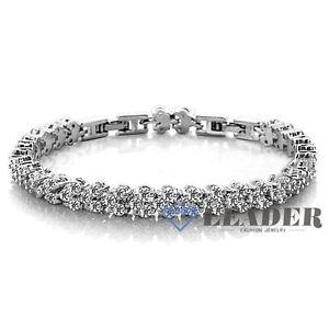 tennis bracelet 18k white gold gp swarovski crystal. Black Bedroom Furniture Sets. Home Design Ideas